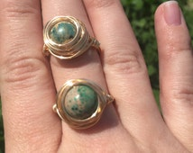 African Opal Bird Nest Ring