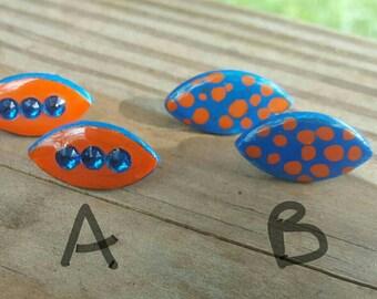 Florida gator earrings, handmade earrings, stud earrings, Florida Gators, collegiate jewelry