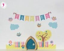 Fairy Door and Wall Stickers, Fairy Door, Fairy Wall Stickers, Fairy Wall Decals, Owl Wall Stickers, Fairy Garden, Owl Wall Decals