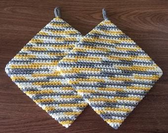 Crochet Hot Pads, Variegated Pot Holders, Crochet Pot Holders ,Cream, Yellow, Grey, Housewarming Gift, Kitchen Gift, Handmade, FREE SHIPPING