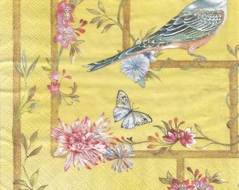 4 Paper napkins for decoupage, Blue birds decoupage napkins, collage and mix media paper, serviette, nature napkin, decoupage paper g257