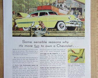 1954 CHEVROLET BELAIR 4-door ad and St. Louis Sheraton Hotel  on the back of magazine ad.