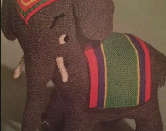Unique VINTAGE Knitting Pattern for knitted Elephant
