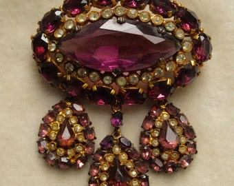 Czech brass and glass gerindole brooch