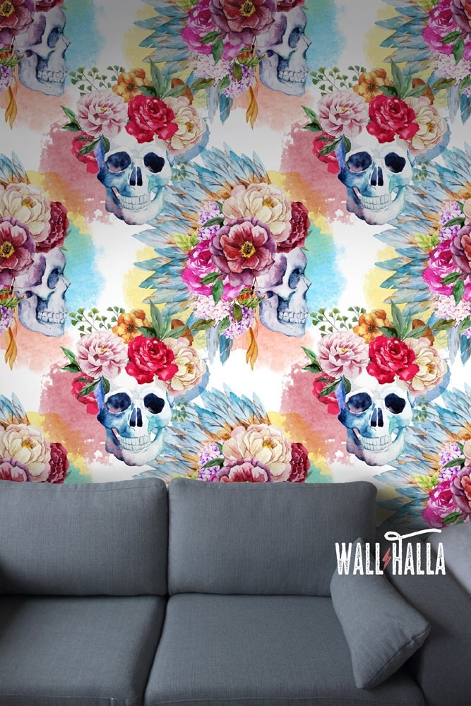 Seamless skull and roses pattern wallpaper self adhesive or for Rose adesive