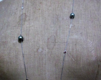 Necklace 18 K white gold, Tahitian Pearls