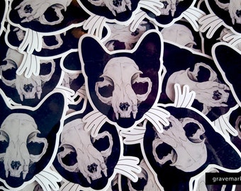 Cat Skull Vinyl Stickers