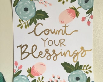Count Your Blessings Floral Painting