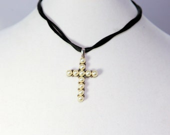 Pearl Cross Pendant on Nylon Cord