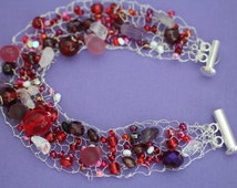 Knitted Wire Bracelet, Silver and Red, Unique Gift, Made to Order, Silver Bracelet