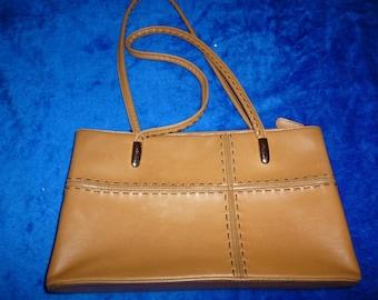 Beige top stitched quality handbag