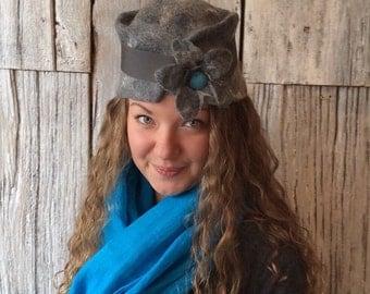 Bletchley - pill box hat, felt hat, wet felted hat, gray hat, felt hat for women