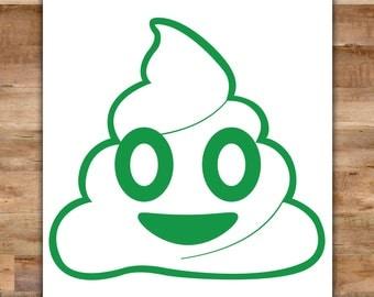 Poop Emoji Sticker - Cute Poop Emoji Decal - Emoji Decorations Cute Car Accessories
