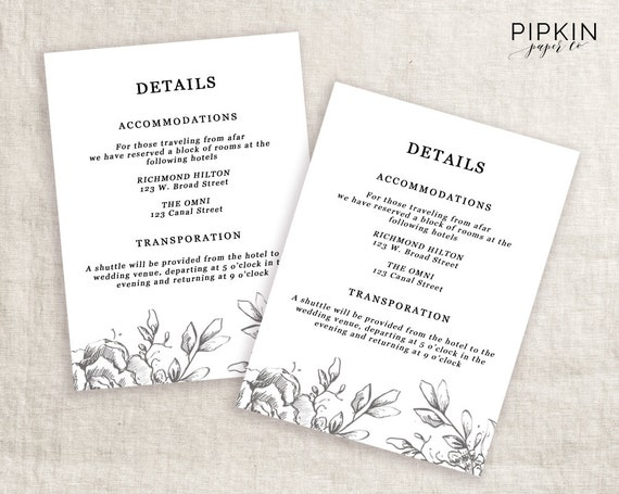 Wedding Invite Information: Wedding Details Template Information Card Template Wedding