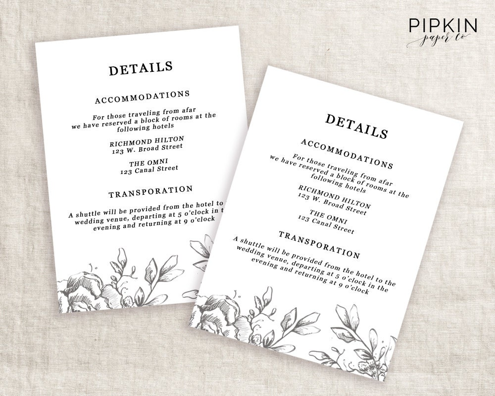 Wedding directions template digital download for word wedding details template information card template wedding details card template wedding information template stopboris Choice Image