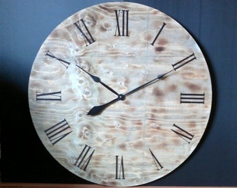 Oversized wall clock with burned wood and slate stain