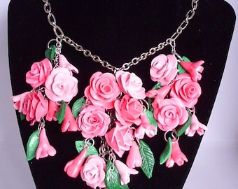 Pink Rose Polymer Clay Cascading Necklace and Earrings
