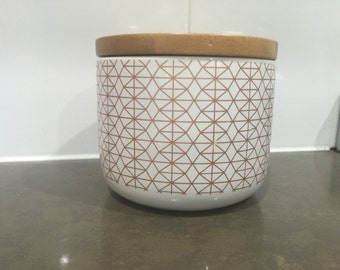 Copper and white ceramic canister