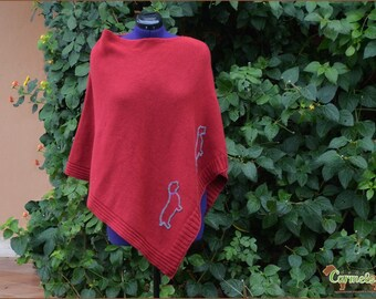 Wirehaired Dachshund in red poncho