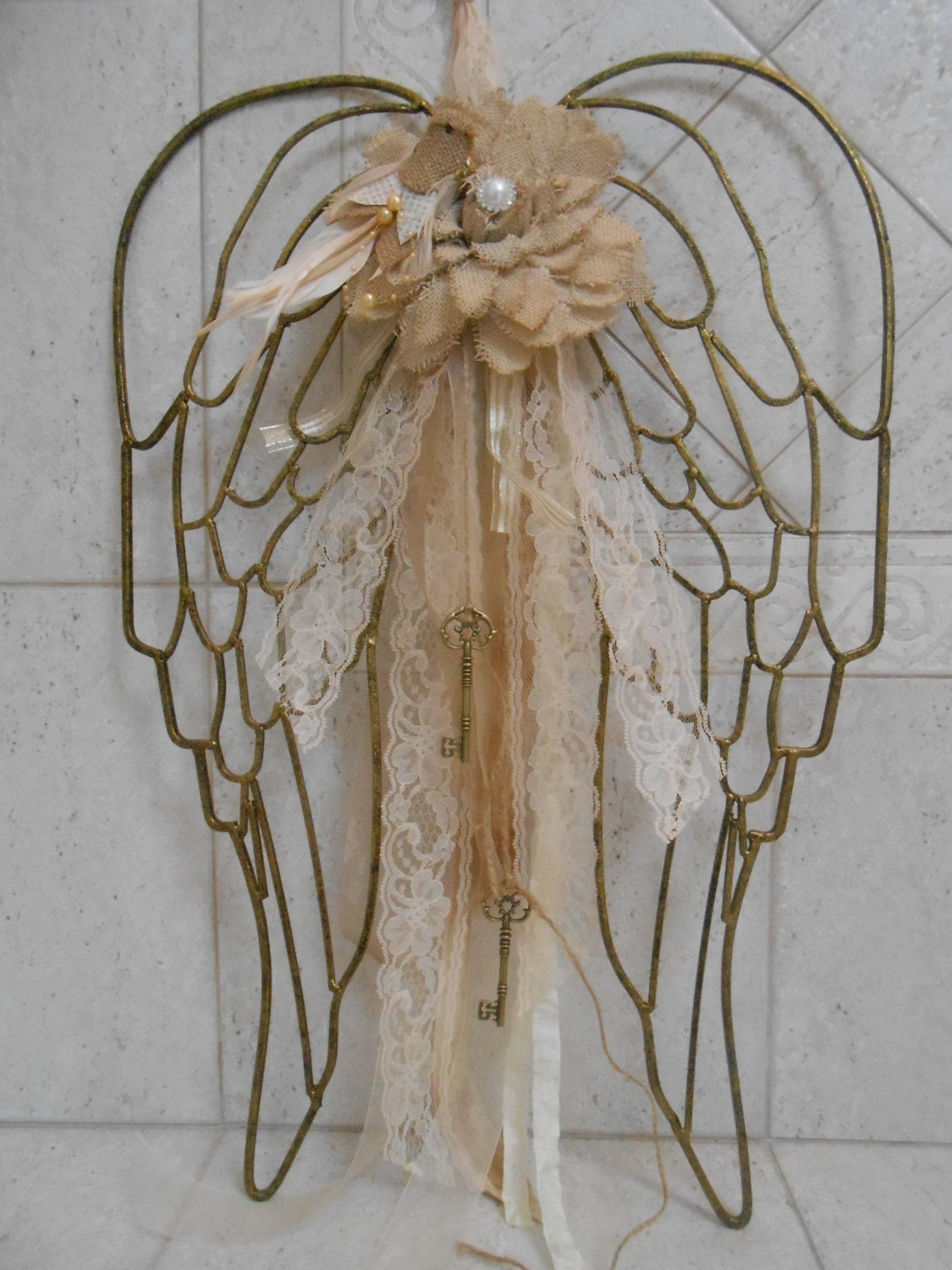 Sale shabby gold angel wings home decor angel wings wall for Angel wings wall decoration