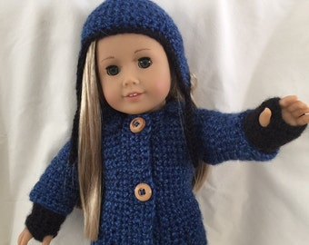 Crocheted American girl doll jacket and hat