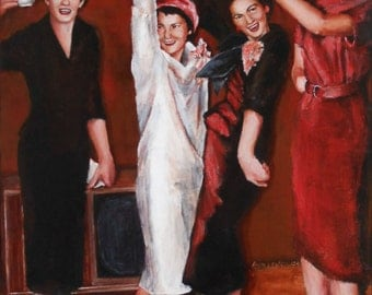 original figurative painting - Here's to life! - acrylic painting from an old photo by commissioned portrait artst Anita Dewitt