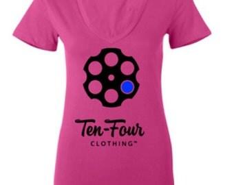 Women's Ten Four Classic V-Neck (Pink)