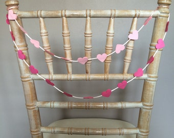 10 x Mini Heart Chair Garland, Wedding Chair Décor