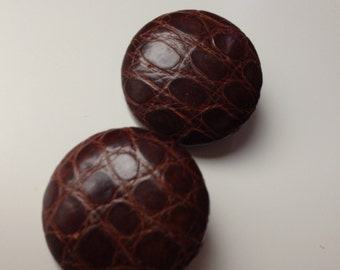 2 big vintage buttons, brown, 38mm x 8mm