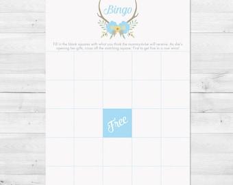 Baby Shower Bingo, Floral Baby Shower Bingo Card, Rustic Baby Shower Bingo, Antler Baby Shower Bingo, Baby Shower Games, Instant Download