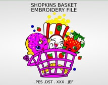 Machine Embroidery - Shopkins Basket: Poppy Corn, D'lish Donut, Strawberry Kiss, Full Stitch File not Applique - Instant Digital Download