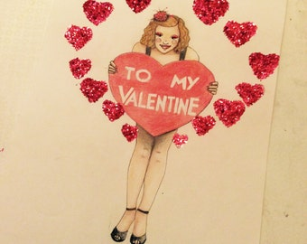 Valentines day pin up illustration