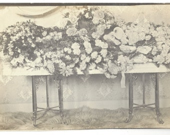 c1910 Flower Laden Coffin Real Photograph Postcard