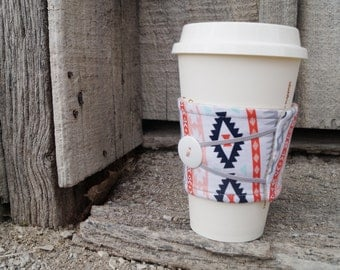 Reusable Coffee Cup Cozy ~*Pink and Teal Southwest Print*~