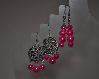 Hot Pink, Two Matching Earring Set