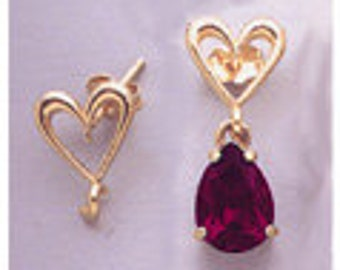 Pair of 14kt White and Yellow Gold Heart Earring Dangle with Loop. 142-104