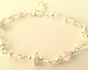 Dainty Bridal Glass Crystal Bracelet