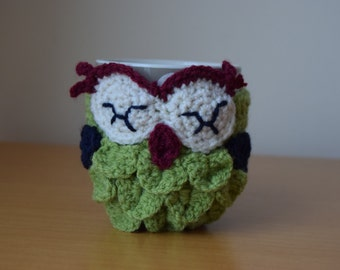 Owl mug cozy, mug cozy, cup cozy, crochet owl, coffee cozy, tea cozy, mug warmer