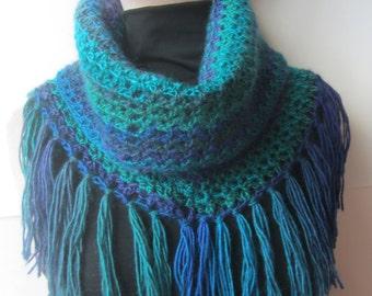 Turquoise Crochet Fringe Cowl/Crochet Cowl/Blue Crochet Cowl/Blue Cowl/Crochet Scarf/Turquoise Crochet Scarf/Fringe Cowl/Fringe Scarf/