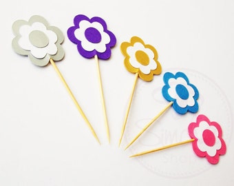 Flower Cupcake Toppers, Birthday Party Cake Toppers, BatMitzvah Cake Toppers, Cupcake Toppers, Cake Toppers, Simcha, 3 Layer, Double Sided.