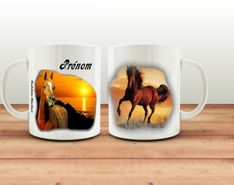 Mug, Cup of coffee or to the customizable, motif horse