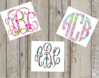 Lilly Monogram Decal | Yeti Monogram | Preppy Monogram | Car Decal | Pattern Monogram | Monogram Sticker