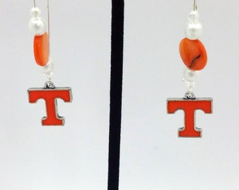 1 Pair - Tennessee Volunteers Theme Dangle Beaded Earrings Brass Ear wire Kidney Style EAR0075