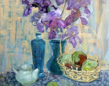 Large art wall Lilac blue painting Iris bouquet blue vase Original oil painting Large still life Flower Home decor painting  canvas frame