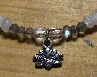 Moonstone Labradorite Lotus charm necklace.