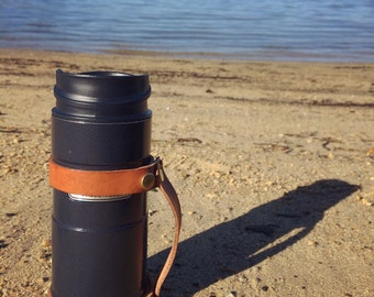 Stanley Thermos insulated water bottle with leather handle EDC