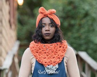 Big Clusters Cowl & Headband Set (Handmade Crochet Chunky Scarf/Ear Warmer Set)