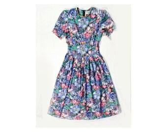 Wedding guest dress - Garden party dress - Short prom dress - Bridesmaid dress - gift for her - Day dress - Floral dress - Lady like dress