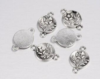 20 Antique Silver Round Flower Connectors 17*11mm (B25)