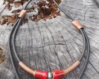 Ceramic, copper and rubber necklace
